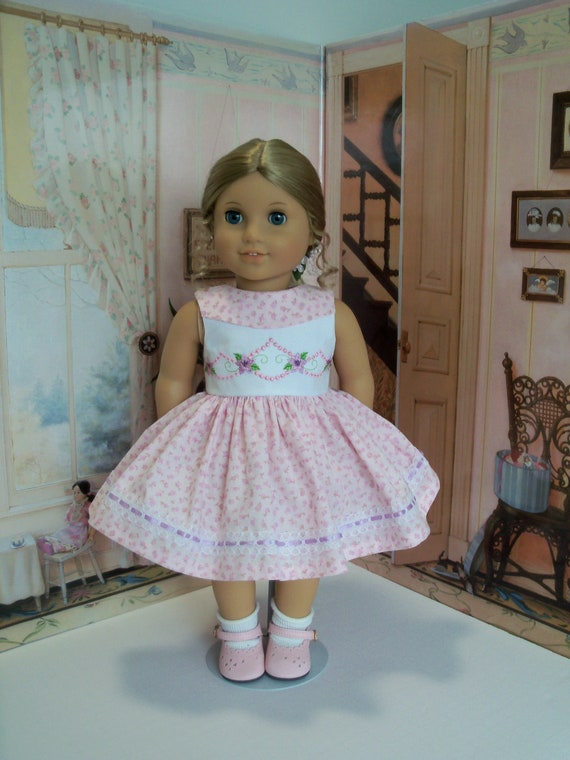 Fits Like American Girl  Doll Clothes / Embroidered  Doll Dress by Farmcookies / 18 Inch Doll Clothes For American Girl