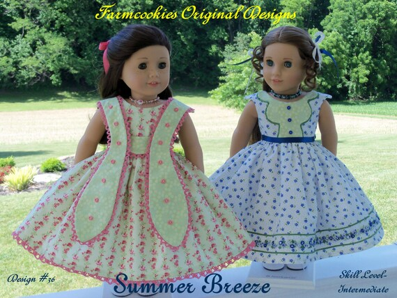 "PRINTED Sewing Pattern  / SUMMER BREEZE - 2 gowns that Fit American Girl® or Other 18"" Doll"