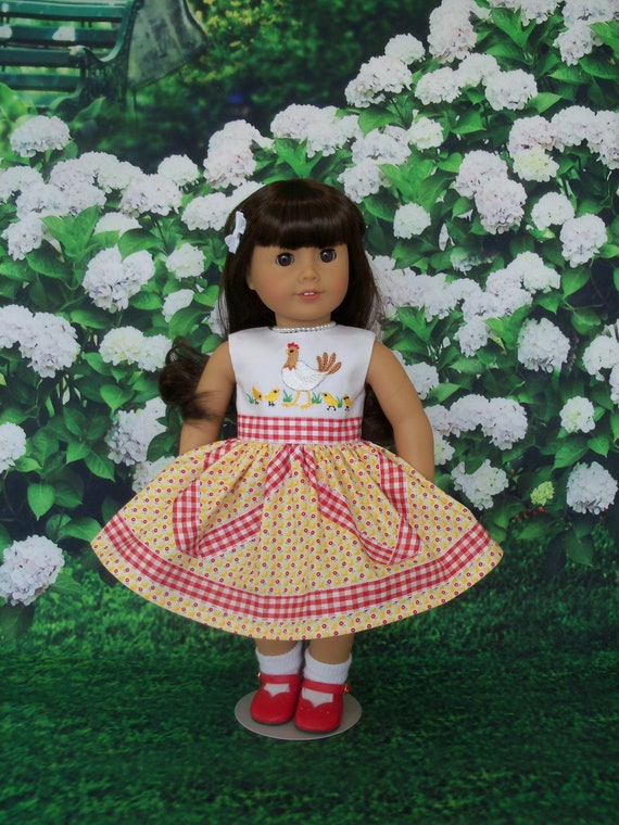 Fits Like American Girl  Doll Clothes / Embroidered Spring Country Girl Dress by Farmcookies /18 Inch Doll Clothes For American Girl