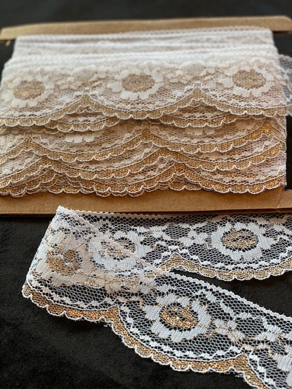 """Doll Clothes Lace / 4 Yards  Special Occasion Gold and White Metallic Lace / Sewing for 18"""" American Girl Doll Clothes"""