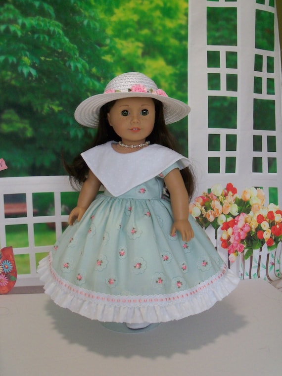 Fits Like American Girl  Doll Clothes / Historical  Gown, Slip and Hat / Doll Dress by Farmcookies / 18 Inch Doll Clothes For American Girl