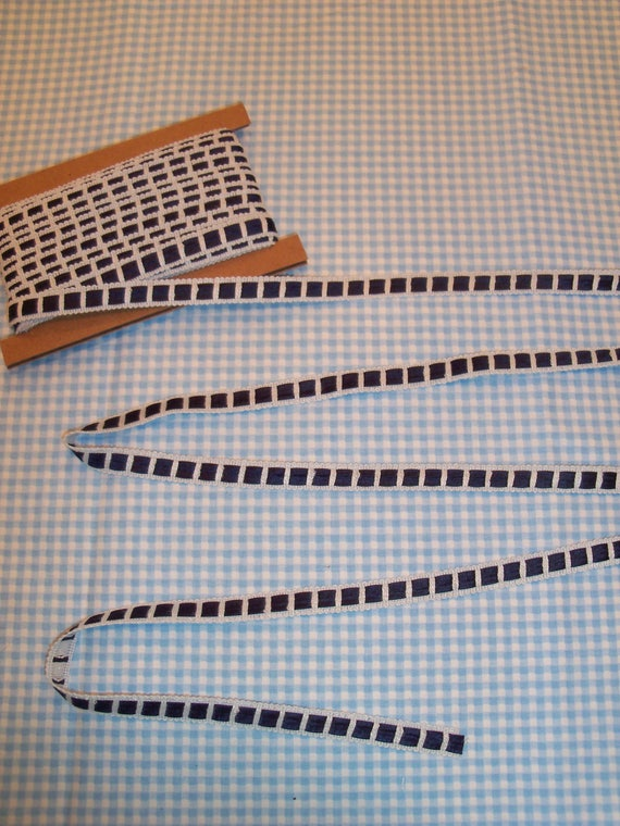 4 Yards Premium Crochet Trim with Navy Satin Insertion / Trims for  Doll Clothes
