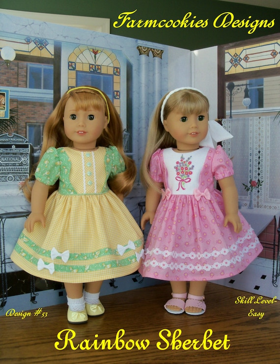 "PDF Sewing Pattern with Optional Embroidery Fits American Girl ® Doll / RAINBOW SHERBET /  Sewing Pattern for 18"" Dolls"