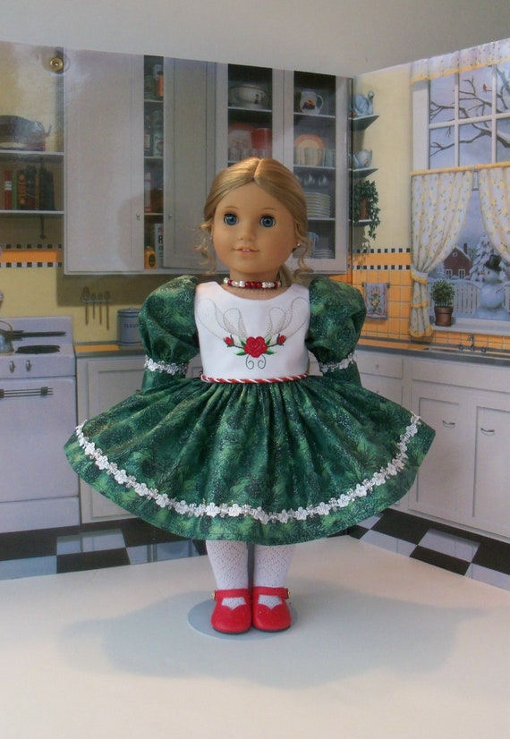 18 Inch DOLL CLOTHES / Embroidered Christmas Holiday Dress, Shoes and Jewelry / Fits American Girl and other 18 Inch Doll