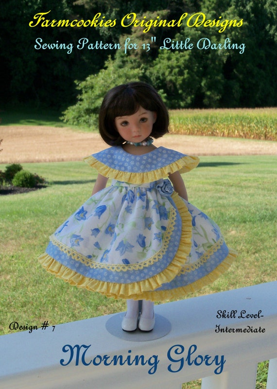 "PDF Sewing Pattern / MORNING GLORY for  Dianna Effner's 13"" Little Darling Dolls"