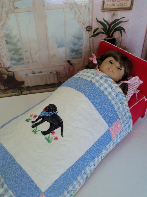 "Farmcookies Embroidered Keepsake Black Lab Heirloom Quilt for 18"" American Girl Doll / Like American Girl Doll Clothes and Bedding"