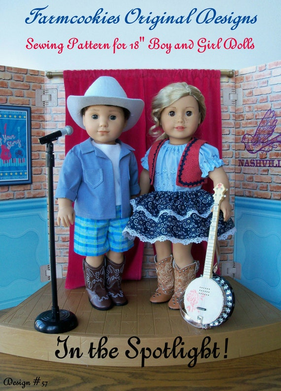 PDF Sewing Pattern / In the Spotlight ! / Country Style Clothes Pattern Fits American Girl® Tenny and Logan or Other 18 inch doll