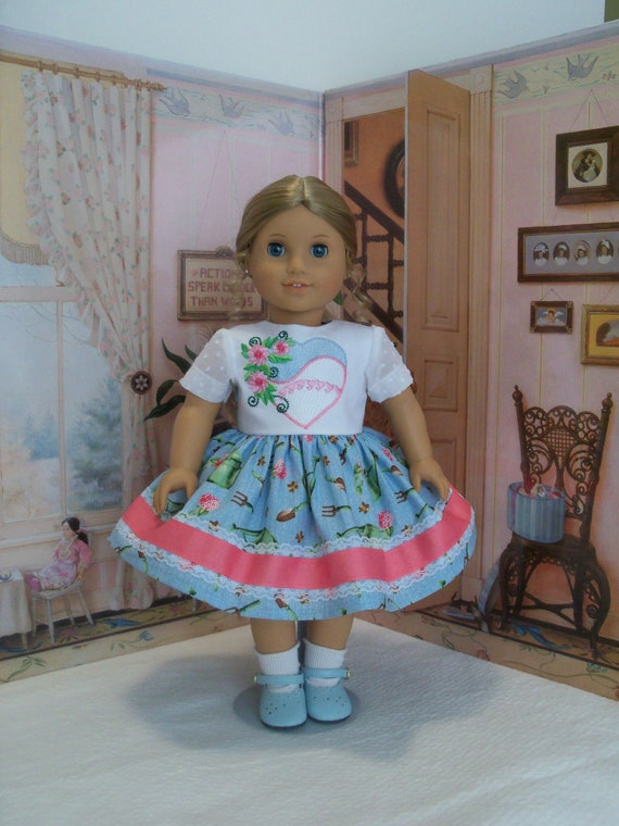 Special Value! Fits Like American Girl  Doll Clothes / Embroidered Spring Dress by Farmcookies / 18 Inch Doll Clothes For American Girl