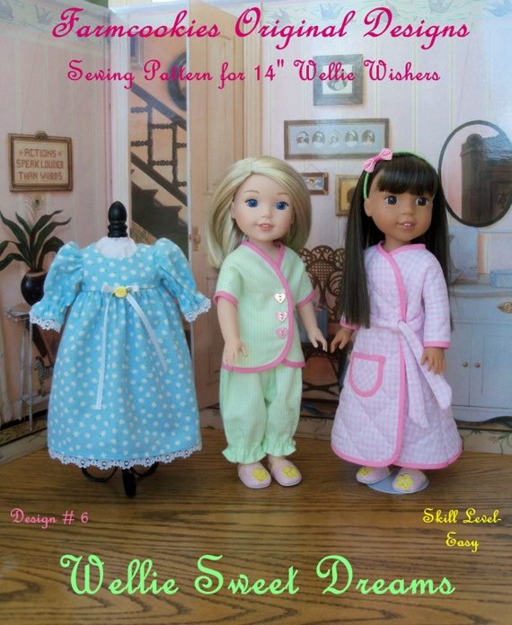 "XL PDF Sewing Pattern: Wellie Sweet Dreams/   Fit 14"" American Girl®  Wellie Wishers®, Glitter Girls / Fits Like American Girl Doll Clothes"