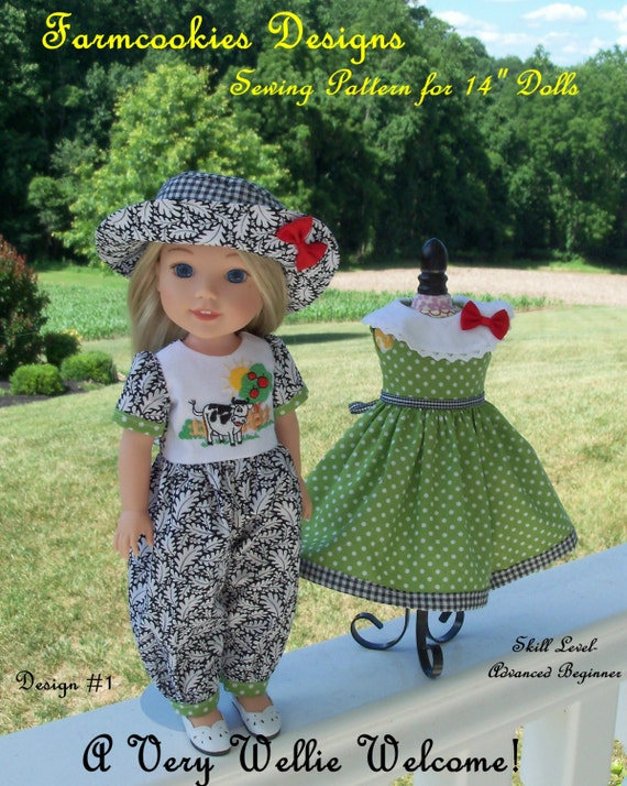 "PDF SEWING PATTERN to Make Doll Clothes for 14"" Wellie Wishers® Doll  / A Very Wellie Welcome! / Instant Download!"