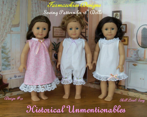 "PRINTED SEWING PATTERN  / Historical Unmentionables   / Sewing Pattern for American Girl or other 18"" Doll"