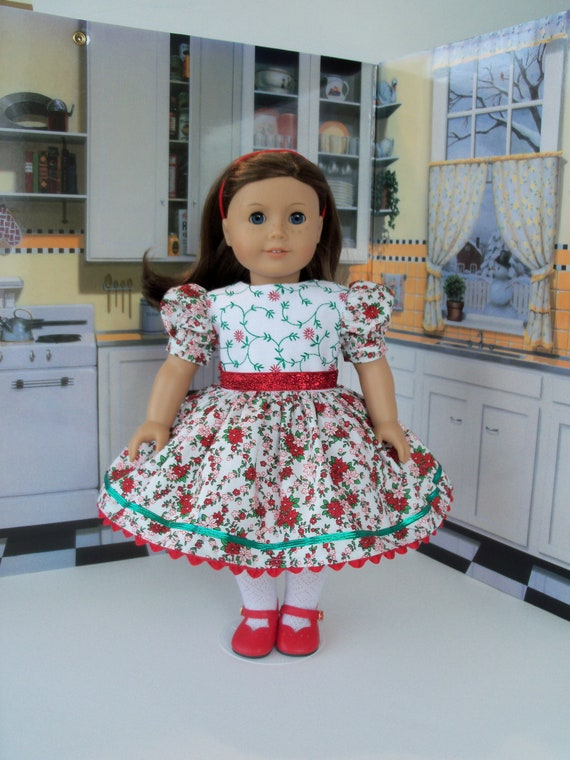 18 Inch DOLL CLOTHES / Embroidered Christmas Holiday Dress by Farmcookies  / Fits American Girl and other 18 Inch Doll
