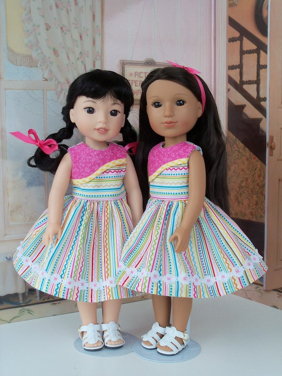Like WELLiE WiSHER Doll Clothes / Glitter Girl Doll Clothes / Summer Dress and Sandals / 14 Inch Dolls Clothes