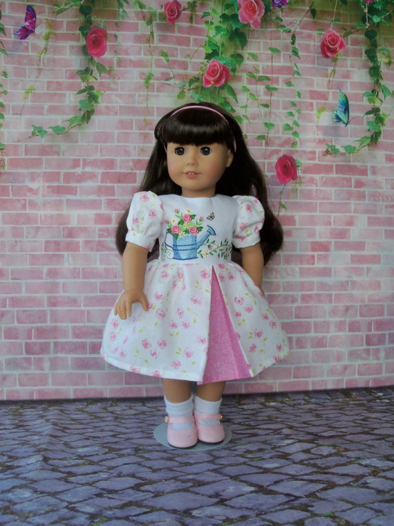 18 Inch DOLL CLOTHES / Farmcookies Embroidered Spring Dress / Fits American Girl and other 18 Inch Doll