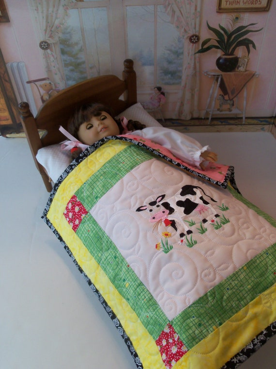 "Farmcookies Embroidered Keepsake Down On The Farm Heirloom Quilt for 18"" American Girl Doll / Like American Girl Doll Clothes and Bedding"