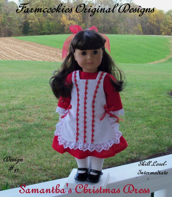 "PDF Sewing Pattern / Samantha's Christmas Dress /  Fits American Girl ® or Other 18"" Dolls"