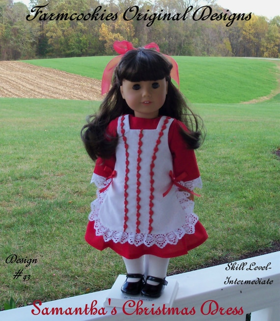 "PRINTED Sewing Pattern / Samantha's Christmas Dress /  Fits American Girl ® or Other 18"" Dolls"
