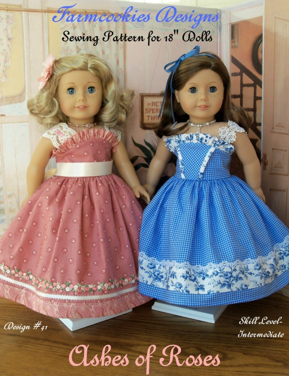 "PRINTED Sewing Pattern / Ashes of Roses /  Fits American Girl or Other 18"" Dolls"