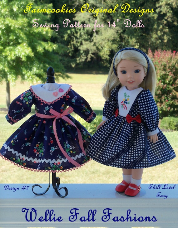 "PDF SEWING PATTERN to Make Doll Clothes for 14"" Wellie Wishers® Doll and Glitter Girls /Wellie Fall Fashions / Instant Download!"