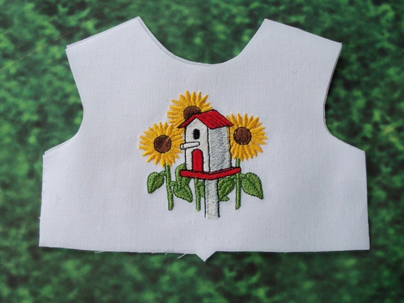 """18 Inch size / Farmcookies Embroidered Summer Bodice Front  / Lining Included / Sewing for 18"""" American Girl Doll Clothes"""