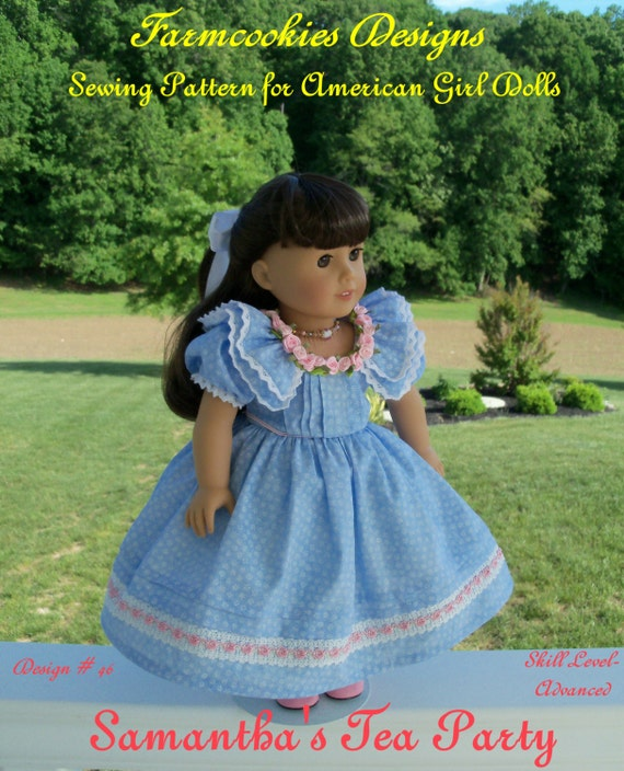 "PRINTED Sewing Pattern / Samantha's Tea Party / Fits 18"" American Girl dolls"