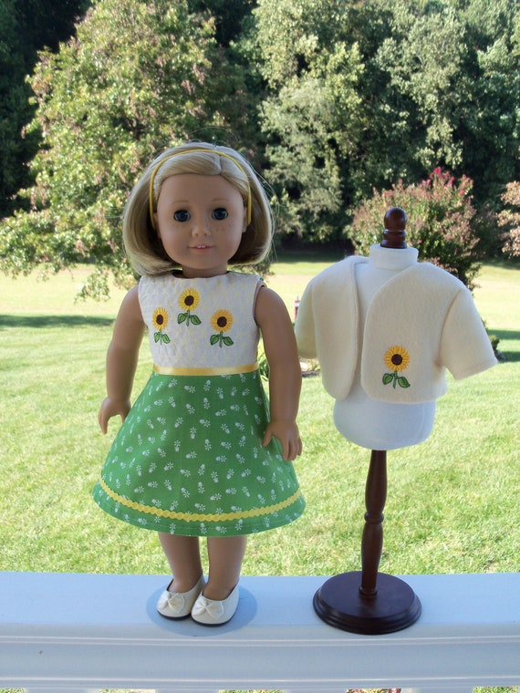 Fits Like American Girl Doll Clothes / Farmcookies 18 Inch Doll Dress and Jacket  / 18 Inch Doll Clothes For American Girl