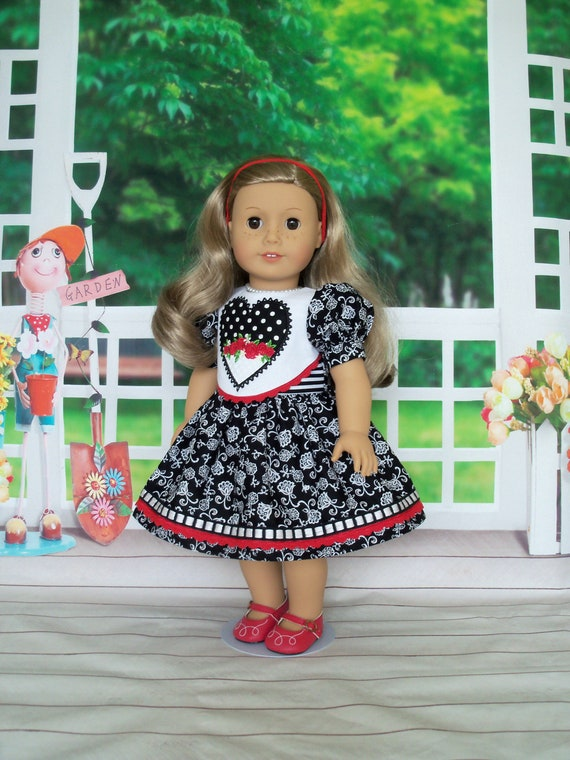 Fits Like American Girl  Doll Clothes / Embroidered 18 Inch Doll Dress by Farmcookies / 18 Inch Doll Clothes For American Girl