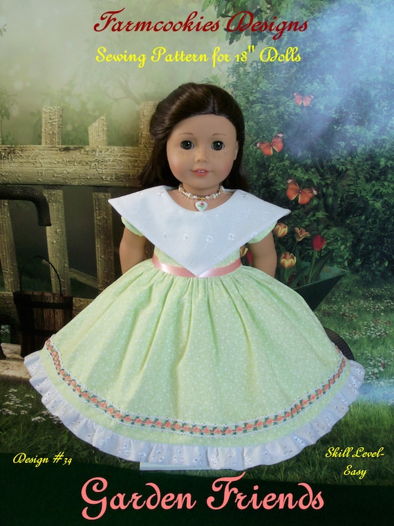 Like American Girl Doll Clothes Instant Download PDF Sewing Pattern / GARDEN FRIENDS/ Farmcookies 18 Inch Doll Clothes Fits American Girl®