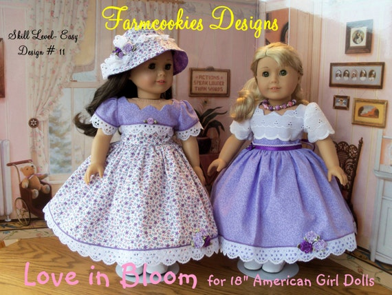 "PRINTED Sewing Pattern / Love In Bloom / Sewing Pattern Fits  18"" American Girl ® Dolls"