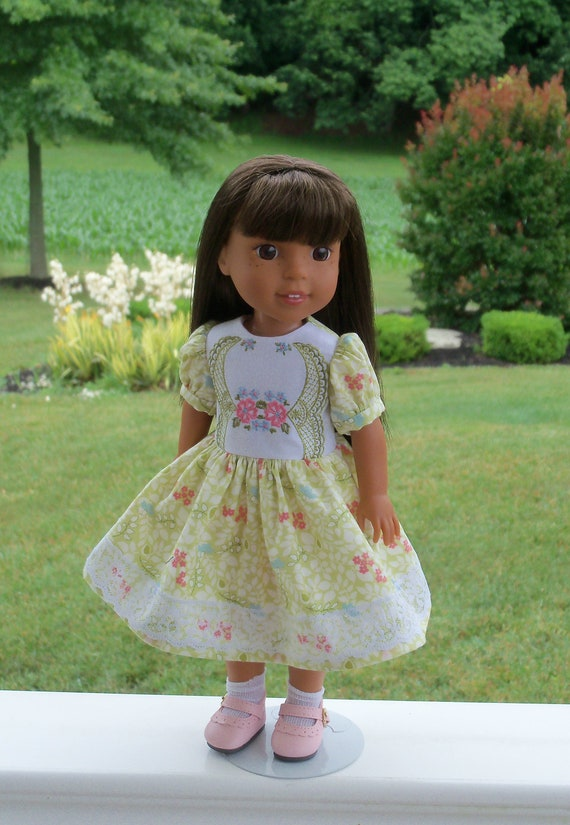 Like Wellie Wisher Doll Clothes /Special Occasion Dress and Shoes /  14 Inch Dolls Clothes / Fits Glitter Girl Doll Clothes, H4H, Les Cheris