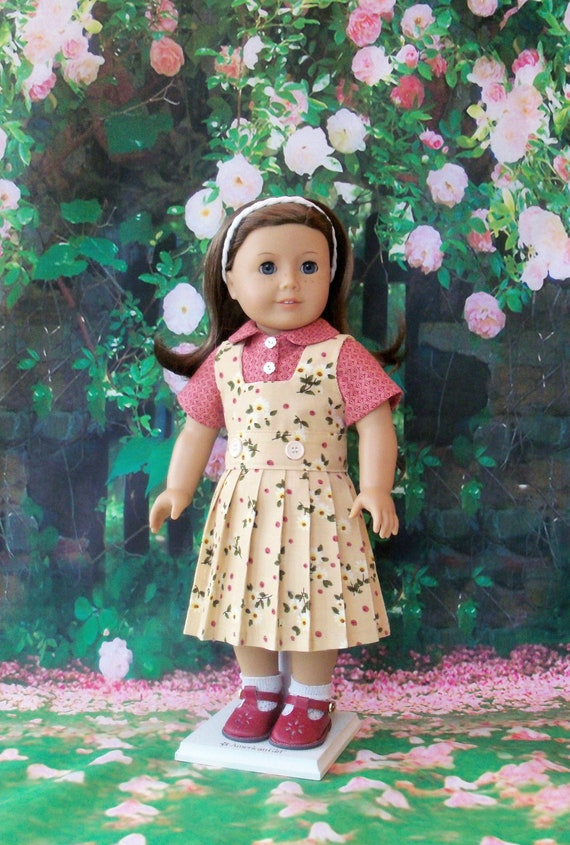 Like American Girl Doll Clothes / Corduroy School Jumper and Blouse  / 18 Inch Doll Clothes