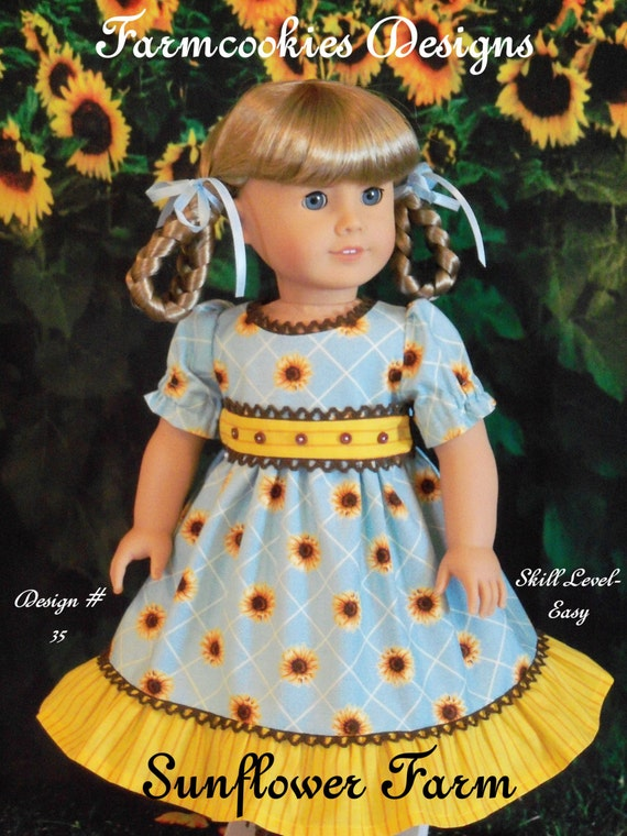 PRINTED Sewing Pattern  / Farmcookies 18 Inch Doll Clothes Pattern fits American Girl Kirsten, Marie Grace, Cecile or Addy/ Sunflower Farm