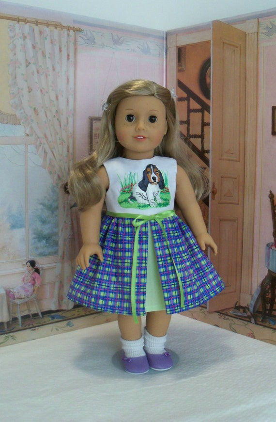 Fits Like American Girl  Doll Clothes / Embroidered Spring Puppy Dress by Farmcookies /18 Inch Doll Clothes For American Girl