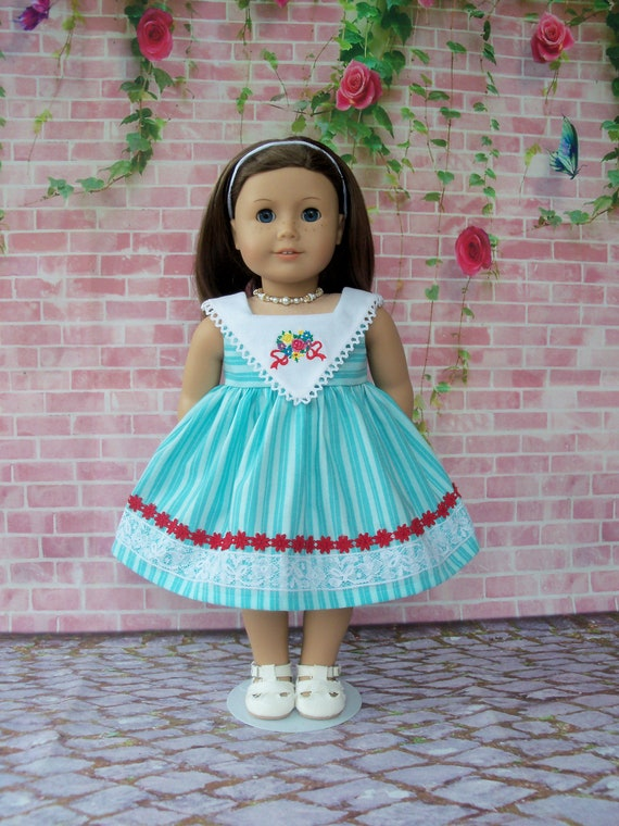 Fits Like American Girl Doll Clothes / Farmcookies Summer Doll Dress  / 18 Inch Sundress For American Girl