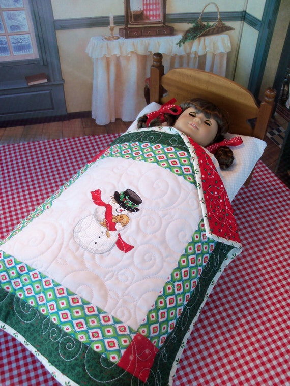 "Farmcookies Embroidered Keepsake Snowman Heirloom Quilt for 18"" American Girl Doll / Like American Girl Doll Clothes and Bedding"