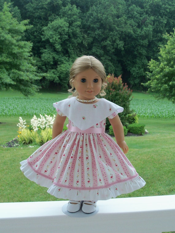 """Like American Girl Doll Clothes / Mid 1800's Summer Gown, Pantalettes and Necklace for 18 """" Dolls / 18 Inch Doll Clothes"""