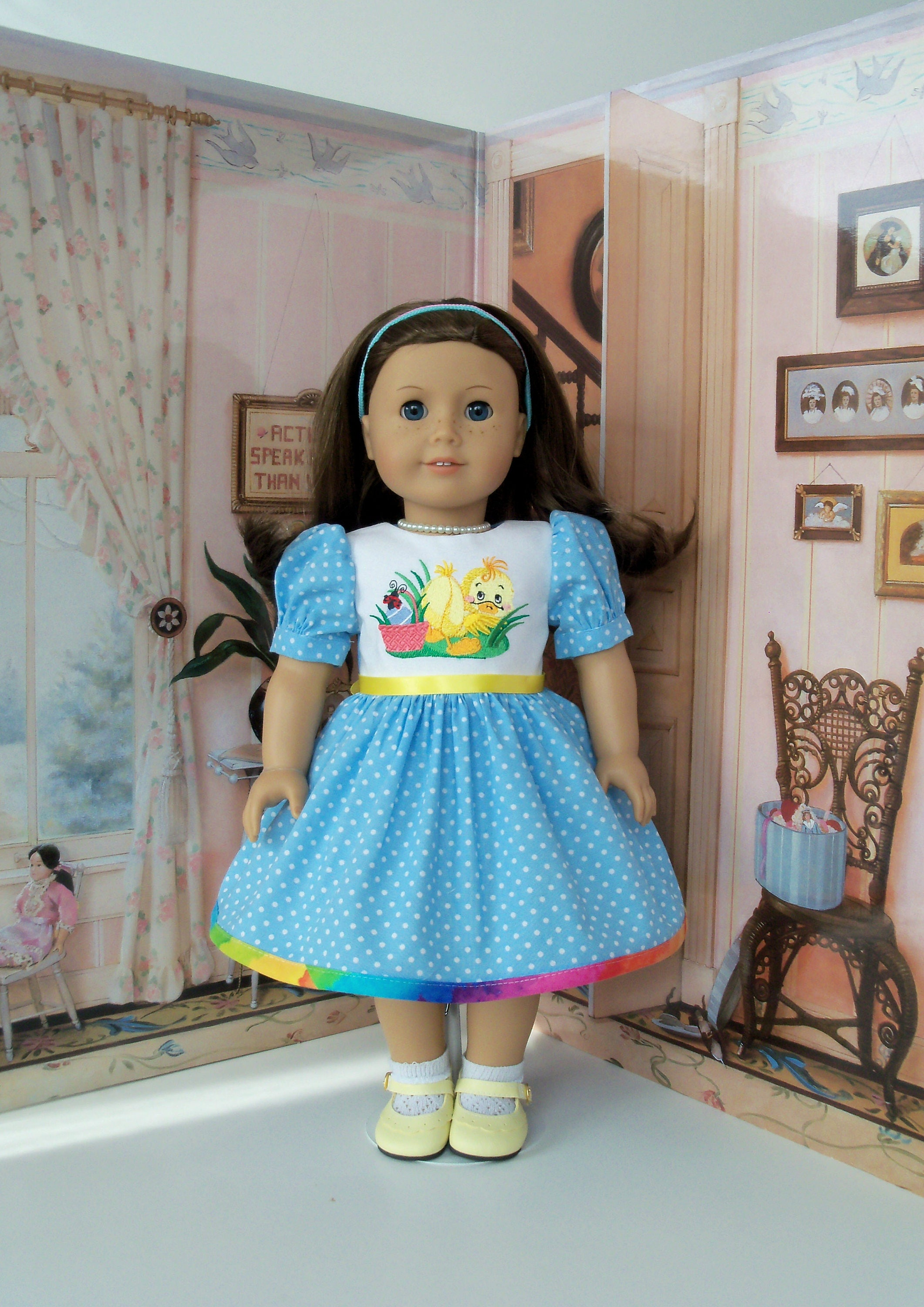 5a4f9a8d46e87 Fits Like American Girl Doll Clothes/ Embroidered EASTER DRESS ...