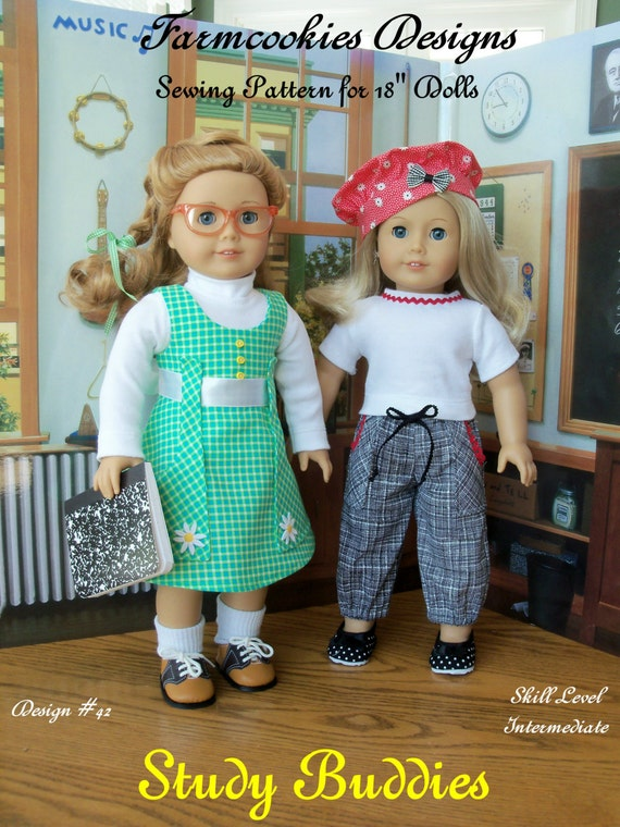 "PRINTED Sewing Pattern Fits 18"" American Girl Dolls /  STUDY BUDDIES"