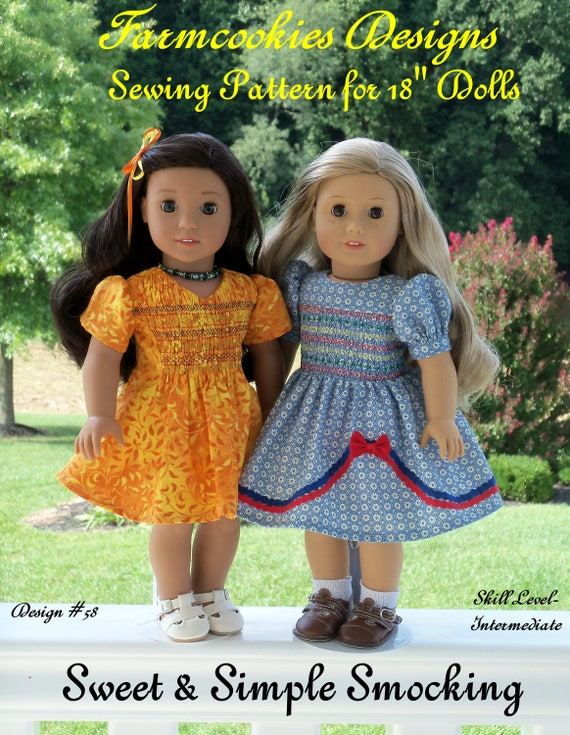 "18"" American Girl Size Printed Sewing Pattern: SWEET and SIMPLE SMOCKING /Pattern Fits   American Girl ®  or Other 18"" Dolls"
