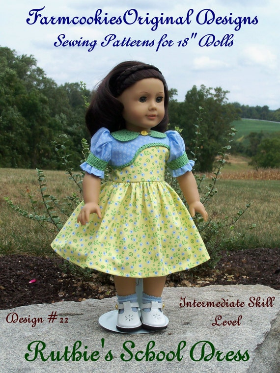 "PRINTED Pattern / Ruthie's School Dress for American Girl Kit, Ruthie, Molly or other 18"" Dolls"