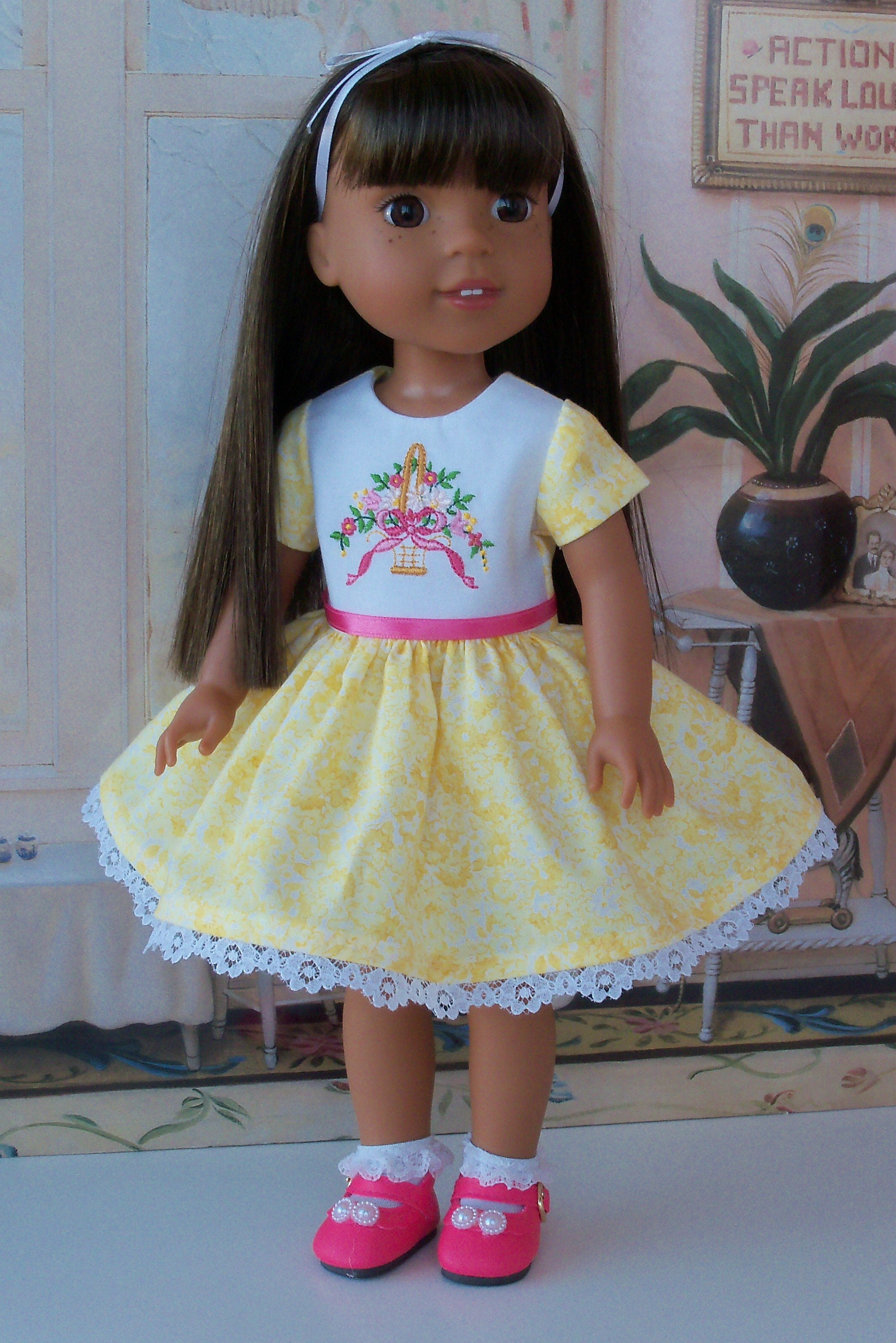 """For Wellie Wisher 14/"""" American Girl Doll Clothes Pink//White Scallop Shoes"""