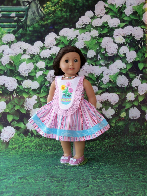 Fits Like American Girl Doll Clothes / Farmcookies Easter Doll Dress  / 18 Inch Doll Clothes/ Spring Dress For American Girl