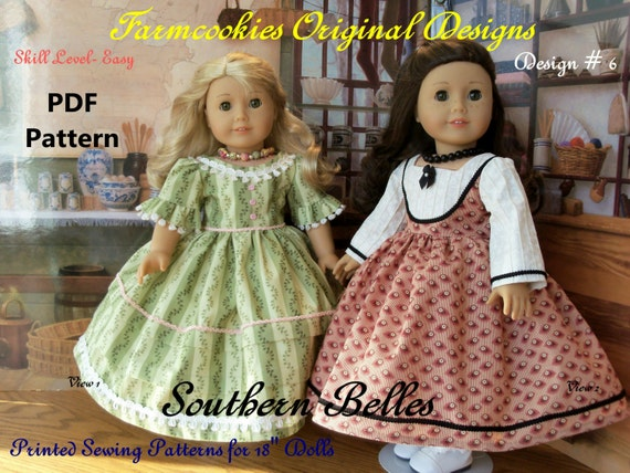 "PDF SEWING PATTERN  Fits Marie Grace or Cecile- Southern Belles/ Sewing Pattern for 18"" Dolls"