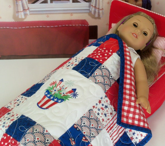 "Farmcookies Embroidered Keepsake Americana Heirloom Quilt for 18"" American Girl Doll / Like American Girl Doll Clothes and Bedding"