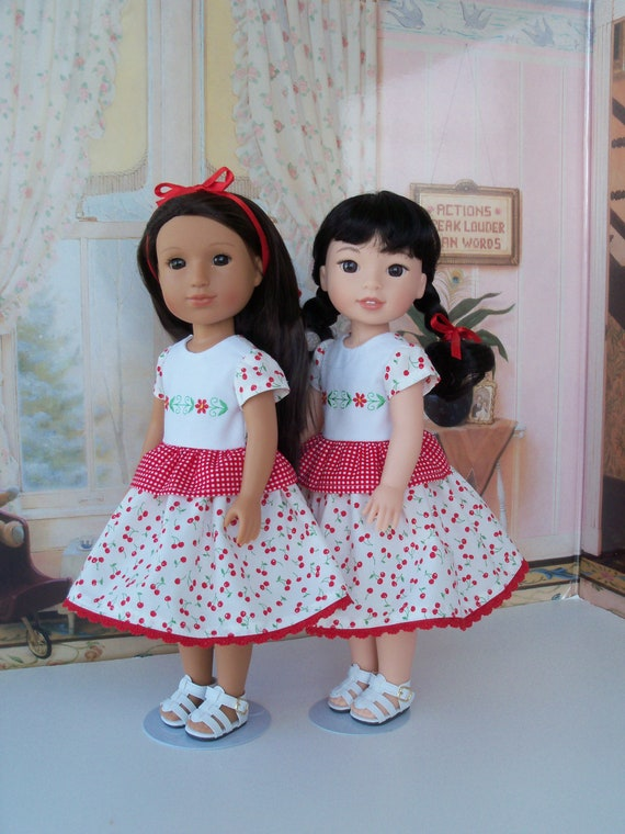 SPECIAL VALUE! Like WELLIE WiSHER Doll Clothes / Glitter Girl Doll Clothes /Embroidered  Dress and  Shoes / 14 Inch Dolls Clothes