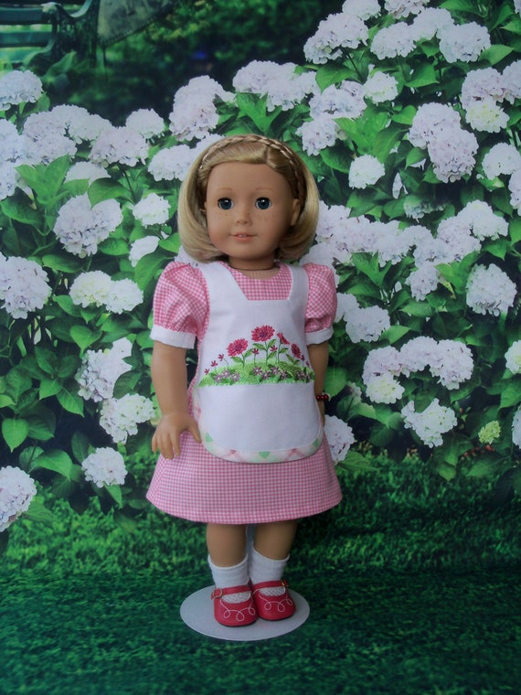 18 Inch DOLL CLOTHES / Farmcookies Embroidered Apron Dress / Fits American Girl and other 18 Inch Doll