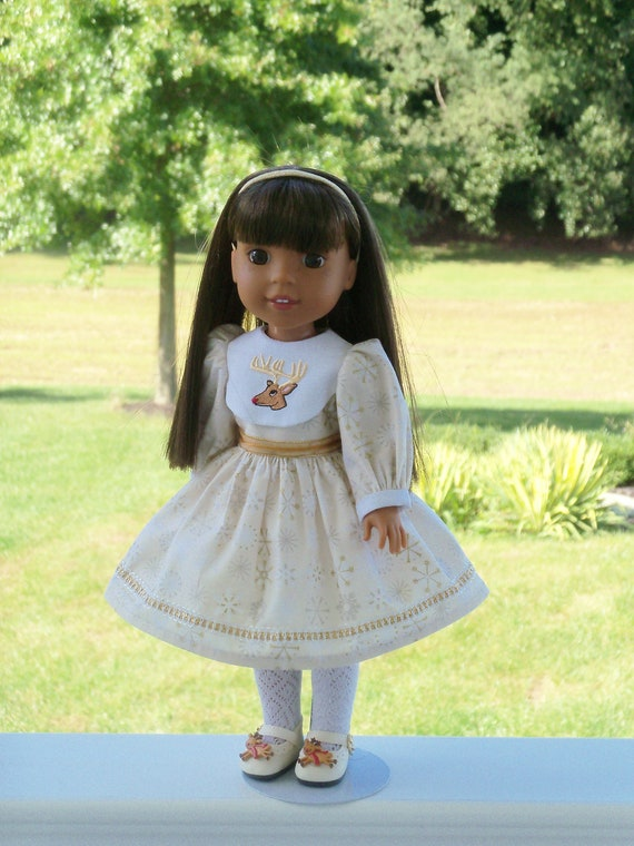 Like Wellie Wisher Doll Clothes/ Farmcookies Embroidered  Little Sister Holiday Dress and Shoes / 14 Inch Doll Clothes Fits Wellie Wishers