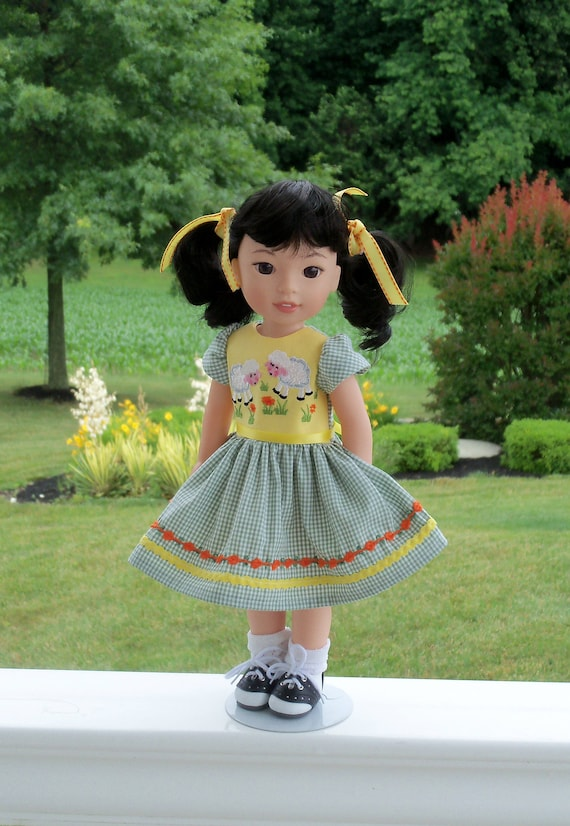 Like Wellie Wisher Doll Clothes/ Farmcookies Embroidered  Dress and Saddle Shoes / 14 Inch Doll Clothes Fits Wellie Wishers, Glitter Girls