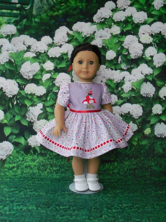 Fits Like American Girl  Doll Clothes / Embroidered Lady Bug Dress by Farmcookies /18 Inch Doll Clothes For American Girl