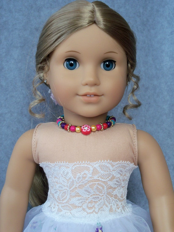 """Bead Choker Necklace for American Girl or Other 18""""  Dolls / Bling for dolls by Farmcookies"""